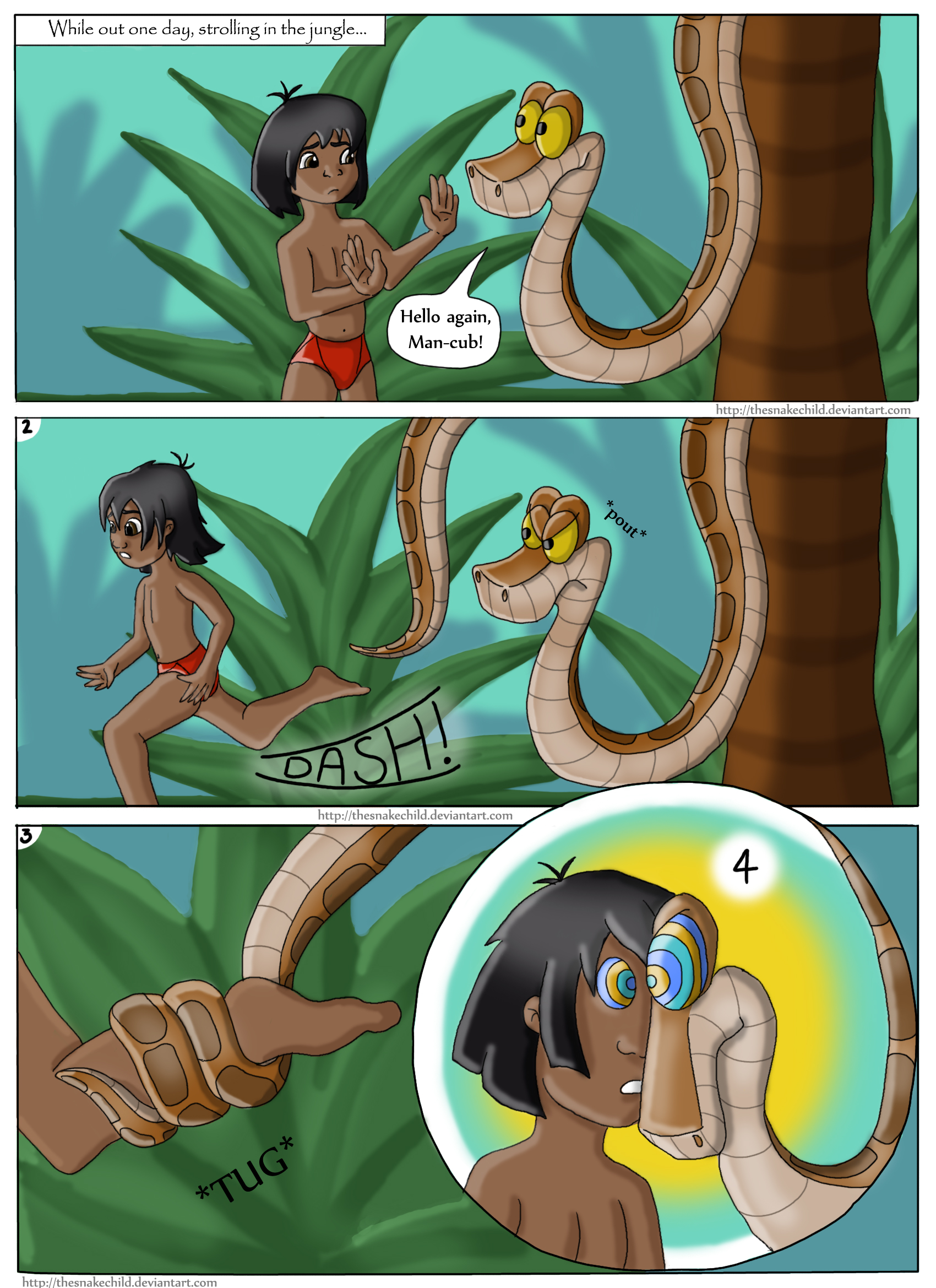 g4 :: Mowgli and Kaa comic commission page 1 by snakechild